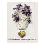 Easter Lilies Balloon Vintage Postcard