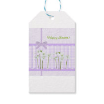 Easter Lilies on Lavender Gingham and Pretty Bow Gift Tags