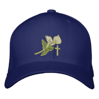 Easter Lilies with Cross Christian Embroidered Baseball Hat