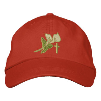 Easter Lilies with Cross Inspirational Embroidered Baseball Hat