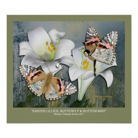 Easter Lillies, Butterfly & Butterfairy Poster