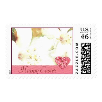 Easter Lily and Heart Postage Stamps