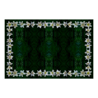 Easter Lily Border on Emerging Pattern Background Posters