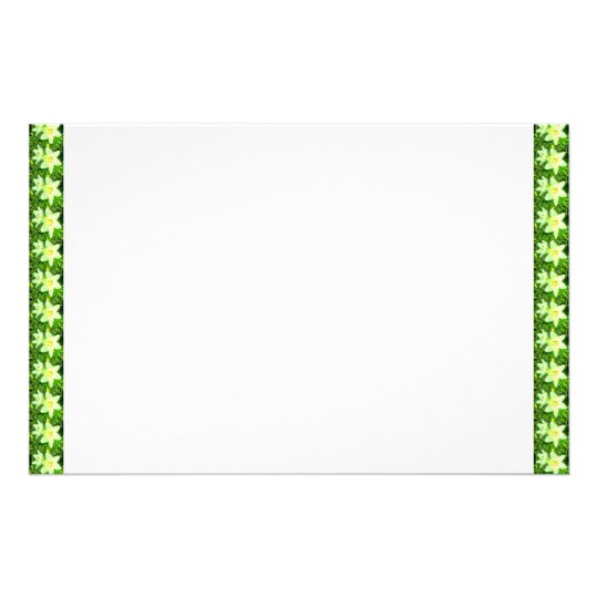 Easter Lily Border White Background Stationery