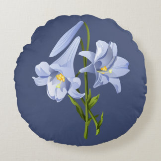 Easter Lily Bouquet Round Pillow