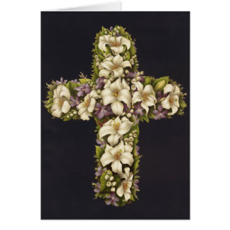 Easter Lily Cross Greeting Card