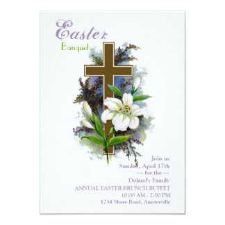 Easter Lily & Cross Invitation
