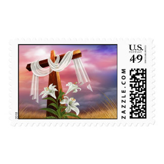 Easter Lily & Cross Postage Stamp