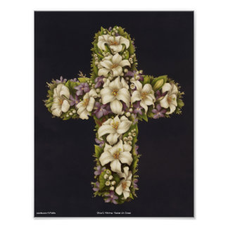 Easter Lily Cross Poster