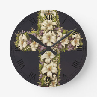 Easter Lily Cross Round Wall Clock