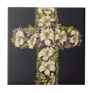 Easter Lily Cross Small Square Tile
