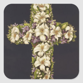 Easter Lily Cross Square Sticker
