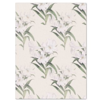 Easter Lily Diagonals Botanical Tissue Paper