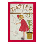 Easter Lily Girl Greeting Card