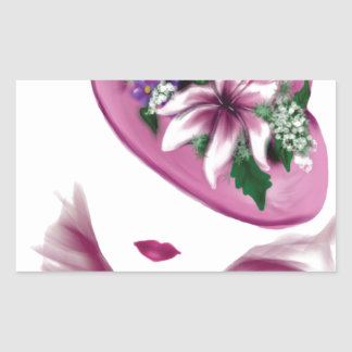 easter lily hat lady.jpg rectangle stickers