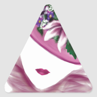 easter lily hat lady.jpg triangle sticker