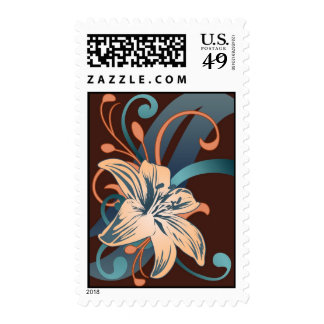 Easter Lily In Blue Postage Stamp