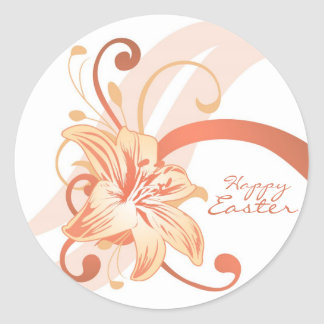 Easter Lily In Orange Round Stickers