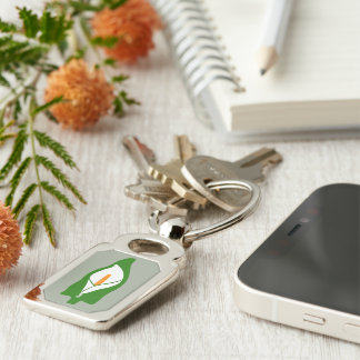 Easter Lily Metal Keyring Keychain