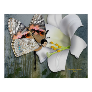 Easter Lily & Painted Lady Butterfairy Poster