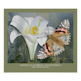 Easter Lily & Painted Lady Butterfly Poster