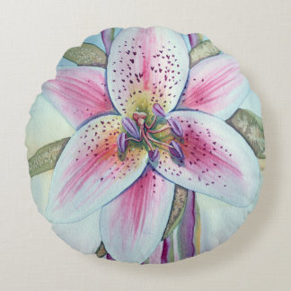 Easter Lily Watercolor Round Pillow