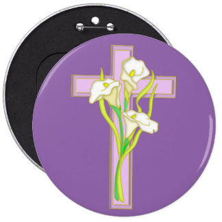 Easter Lily with Cross Button