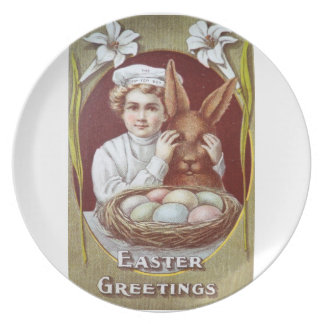 Easter Litho Tip Top Boy Chocolate Bunny Melamine Plate