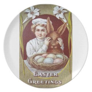 Easter Litho Tip Top Boy Chocolate Bunny Melamine Plate