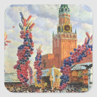 Easter Market at the Moscow Kremlin, 1917 Square Sticker