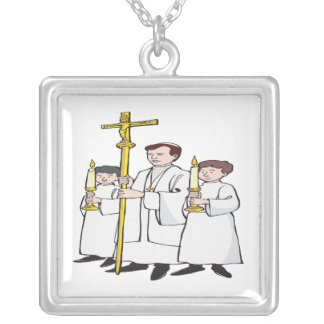 Easter Mass Square Pendant Necklace