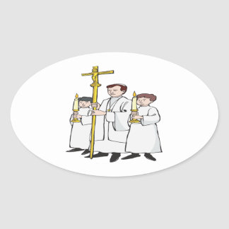 Easter Mass Oval Stickers