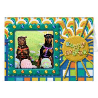 Easter - Min Pin - Zena and Gidget Card