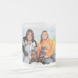 Easter - Min Pin - Zena and Gidget Frosted Glass Coffee Mug