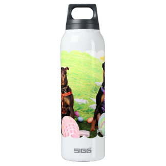 Easter - Min Pin - Zena and Gidget Insulated Water Bottle