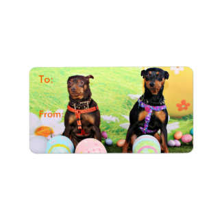Easter - Min Pin - Zena and Gidget Label
