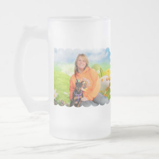 Easter - Min Pin - Zena and Gidget 16 Oz Frosted Glass Beer Mug