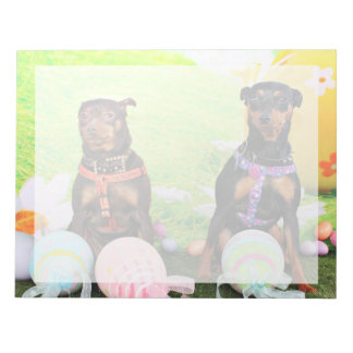 Easter - Min Pin - Zena and Gidget Note Pad