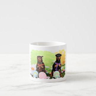 Easter - Min Pin - Zena and Gidget 6 Oz Ceramic Espresso Cup