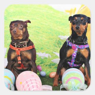 Easter - Min Pin - Zena and Gidget Square Sticker