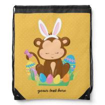 Easter Monkey Bunny * choose background color Drawstring Backpack