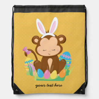 Easter Monkey Bunny * choose background color Drawstring Bags