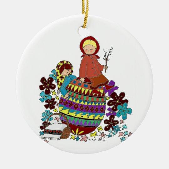 Easter Morning Pysanka Ukrainian Folk Art Ceramic Ornament