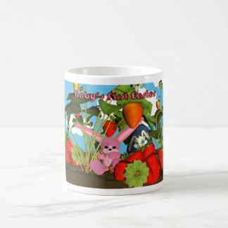 Easter mug with bunny chocolate eggs, strawberrie