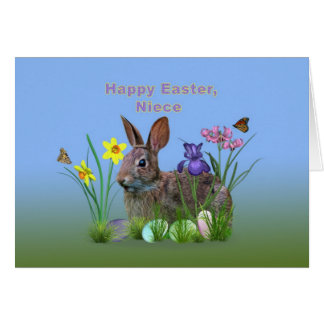 Easter, Niece,  Flowers, Eggs, and Rabbi Card