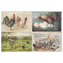 EASTER ON THE FARM VINTAGE GREETING CARDS TISSUE PAPER