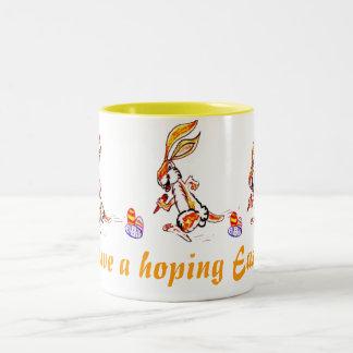 Easter on the run Two-Tone coffee mug