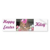 Easter Orange Tabby Kitty Cat Bumper Sticker