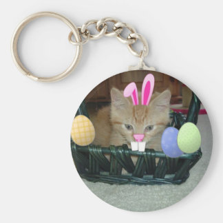 Easter Orange Tabby Kitty Cat Key Chain