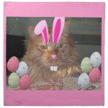 Easter Orange Tabby Kitty Cat Printed Napkin